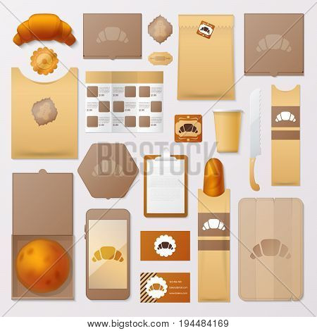 Bakery Shop Corporate Identity Template Set. Bread and Sweet Food Stationary Mockup. Personal Branding. Vector illustration