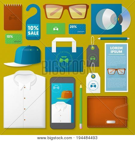 Man Fashion Corporate Identity Template Set. Male Stationary Mockup. Personal Branding. Vector illustration