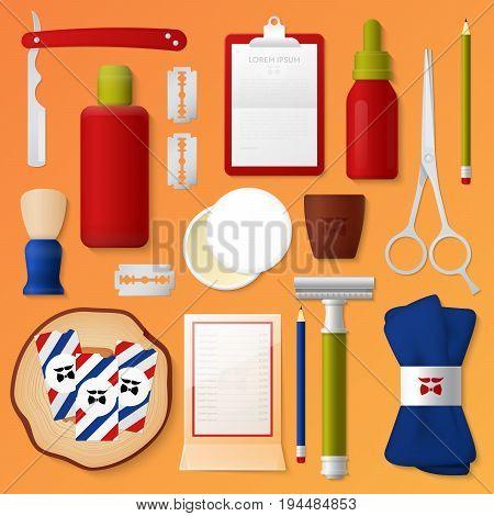 Barber Shop Corporate Identity Template Set. Man Beauty Stationary Mockup. Personal Branding. Vector illustration