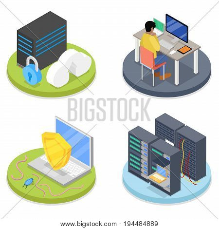 Isometric System Administrator. Server Room. Data Storage. Network Security. Vector flat 3d illustration
