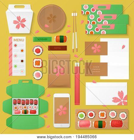Asian Food Restaurant Corporate Identity Template Set. Sushi Stationary Mockup. Personal Branding. Vector illustration