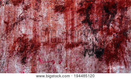 Plaster, bright red stucco, abstract grunge background, plaster texture, abstract plaster pattern, red spray, bumpy, wall background