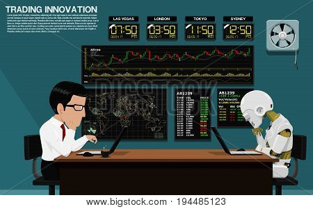 Businessman and robot are trading stock together in trading room