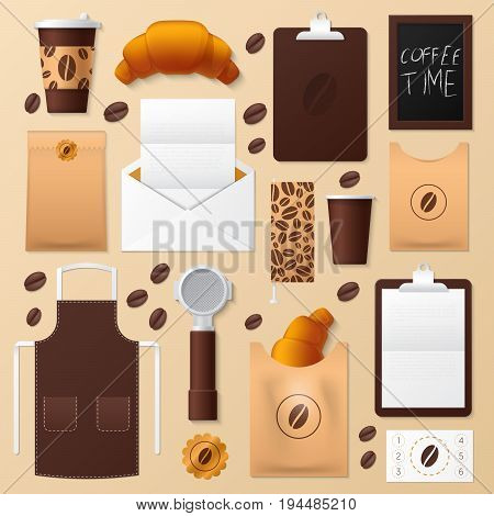 Coffee Shop Corporate Identity Template Set. Cafe Stationary Mockup. Personal Branding. Vector illustration