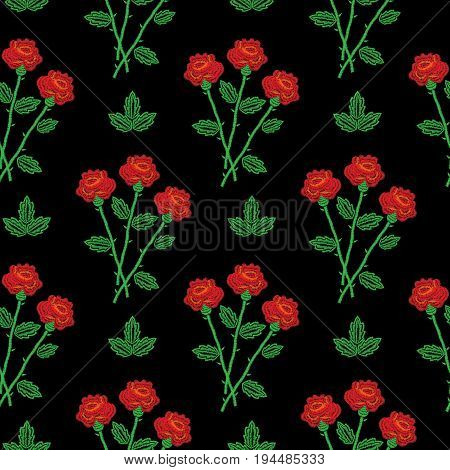 Embroidery stitches imitation seamless pattern with little red roses. Fashion embroidery rose flower on black background. Embroidery seamless with roses vector.