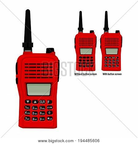 Isolated red walkie-talkie on transparent background and 2 variations