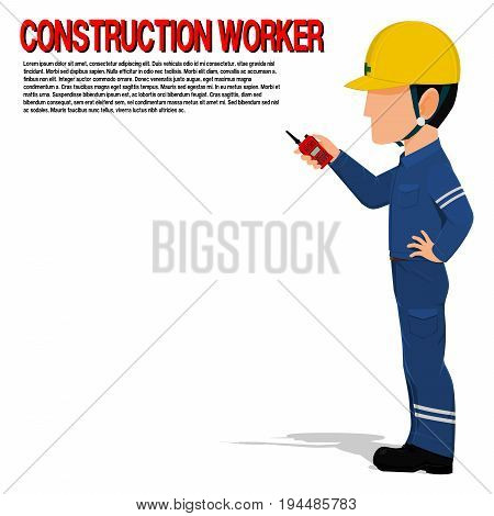 Construction worker is holding a walkie-talkie on transparent background