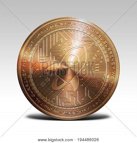 copper stellar lumens coin isolated on white background 3d rendering illustration