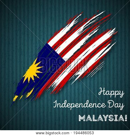 Malaysia Independence Day Patriotic Design. Expressive Brush Stroke In National Flag Colors On Dark