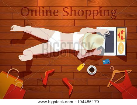 Young woman doing online shopping, vector illustration