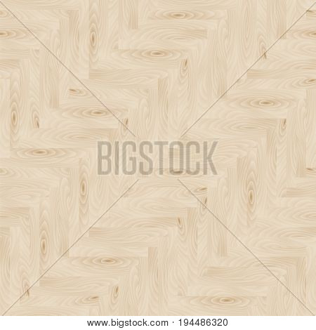 Wooden parquet floor in herringbone shape, seamless pattern, vector illustration