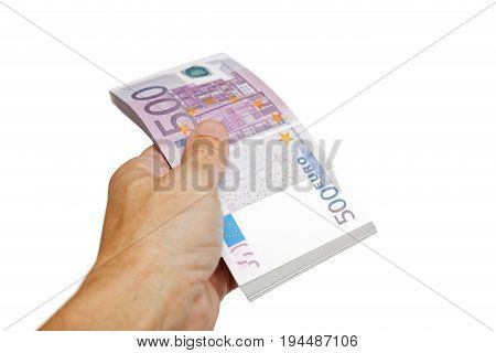 A Man's Hand Holds A Bundle Of Euro Bills Isolated On White