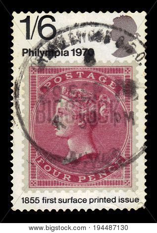 UNITED KINGDOM - CIRCA 1970: A stamp printed in Great Britain shows image of the english postage stamp of 1855 of the issue with profile of Queen Victoria, first surface printed issue, series Philympia 70 - Stamp Exhibition, circa 1970
