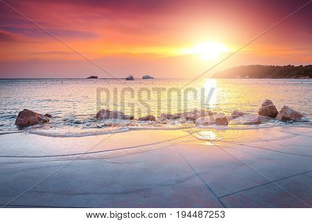Amazing rocky coastline with magical sunset Rovinj Istria peninsula Croatia Europe