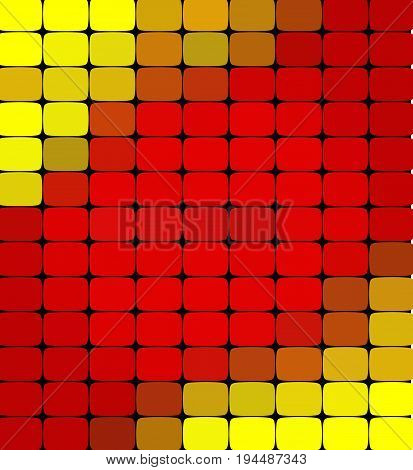 vector abstract colorful mosaic background. Red and yellow colors. An abstract background consisting of elements of a different shape, located in a mosaic style. Vector illustration.