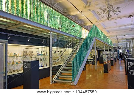 LONDON, ENGLAND - May 24,2017: hall with a collection of art glass products in the Victoria and Albert Museum, London, UK