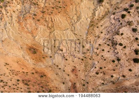 Aerial view of severe soil erosion in an arid region of South Africa