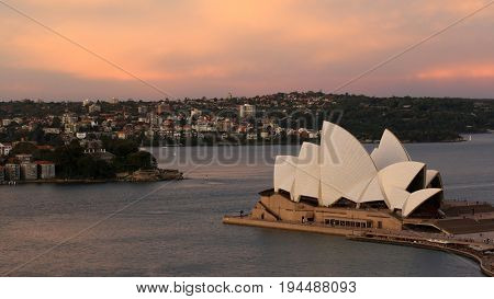 SYDNEY, AUSTRALIA, 26 APRIL 2017 - Sydney  opera house. at sunset, Iconic and world famous landmark of Australia