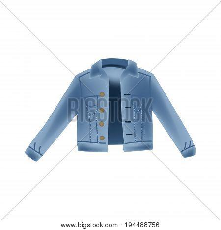 Fashion vector photo realism illustration with blue denim jeans jacket. Isolated on white background