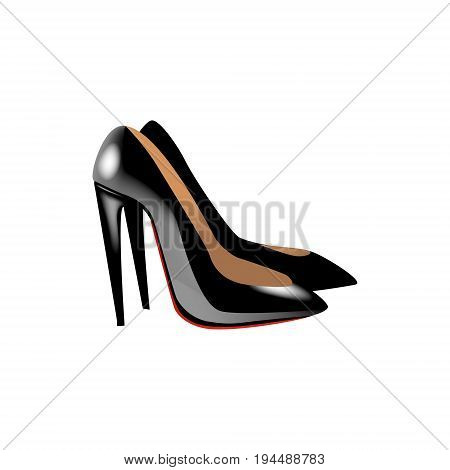 Fashion vector photo realism illustration with black glossy shoes on high heels. Isolated on white background