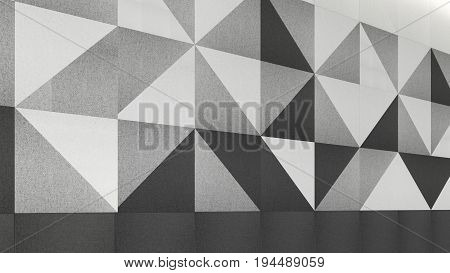 Wall Acoustic Panels, 3D Render Interior Design, Mock Up Illustration