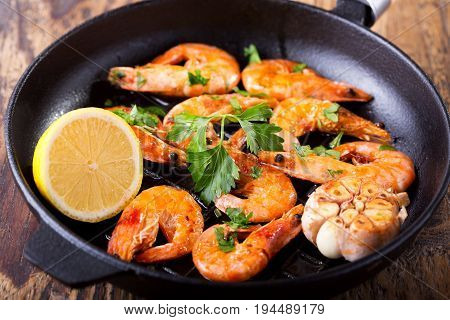 Pan Of Grilled Shrimps