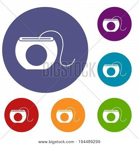 Dental floss icons set in flat circle reb, blue and green color for web