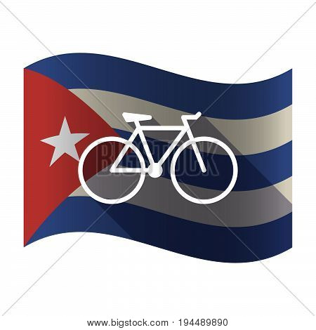 Isolated Cuba Flag With A Bicycle
