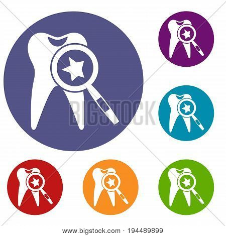 Tooth with magnifying glass icons set in flat circle reb, blue and green color for web