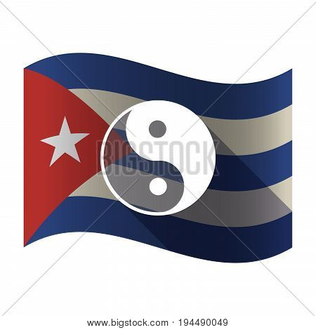 Isolated Cuba Flag With A Ying Yang