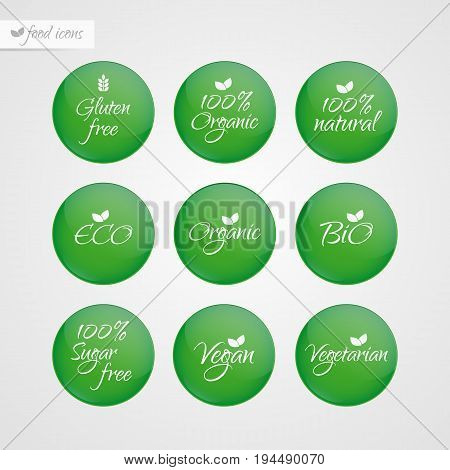 Organic Gluten Sugar free Eco Bio Vegan Vegetarian Eco Bio Natural label. Food logo icons. Vector green and white sticker signs isolated. Illustration symbol for product packaging healthy eating