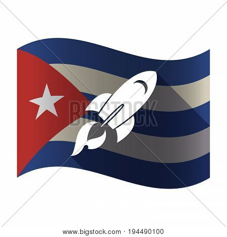 Isolated Cuba Flag With A Rocket