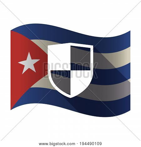 Isolated Cuba Flag With A Shield