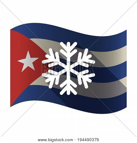 Isolated Cuba Flag With A Snow Flake