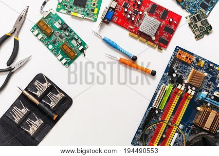 Computer upgrade background, motherboard top view, flat lay. Technology maintenance, electronics repair shop concept