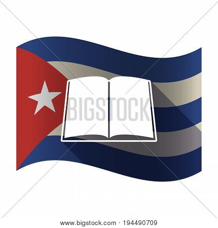 Isolated Cuba Flag With A Book