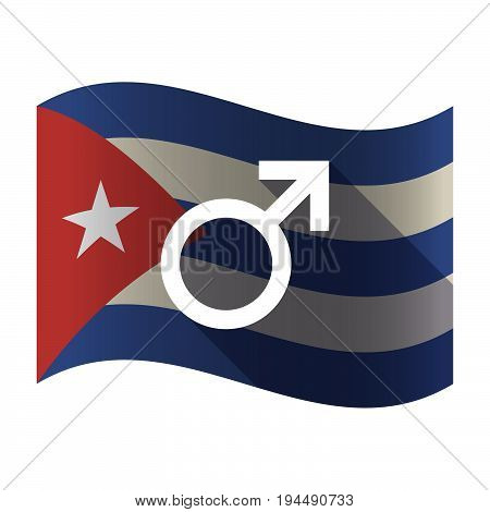 Isolated Cuba Flag With A Male Sign