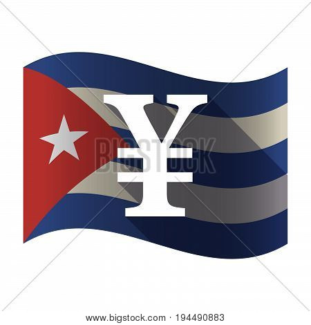 Isolated Cuba Flag With A Ruble Sign