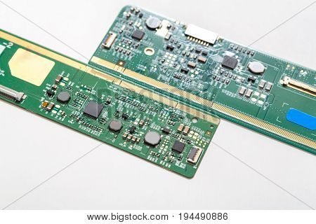 Digital gadgets components, repair shop concept. Microcircuits on white background closeup