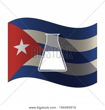 Isolated Cuba Flag With A Flask