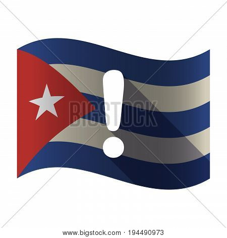 Isolated Cuba Flag With An Exclamarion Sign