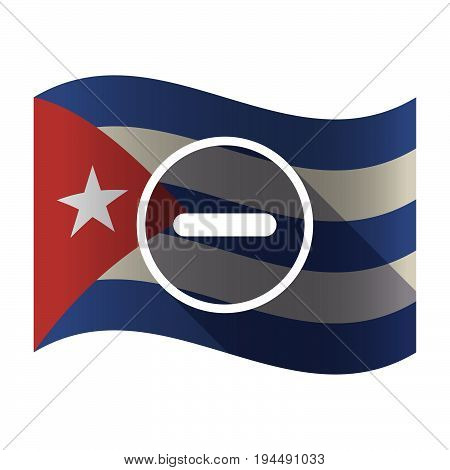 Isolated Cuba Flag With A Subtraction Sign