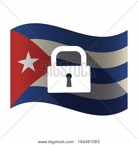 Isolated Cuba Flag With A Closed Lock Pad