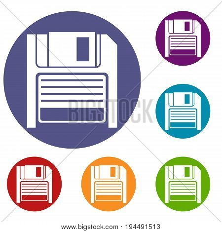 Magnetic diskette icons set in flat circle reb, blue and green color for web