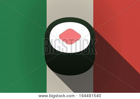 Long Shadow  Italy Flag With A Piece Of Sushi Maki