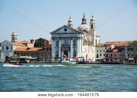 VENICE ITALY: June 20 2017: Santa Maria del Rosario is a Dominican church on the Giudecca Canal. Also known as I Gesuati this classic style building was started in 1725 and consecrated in 1743.
