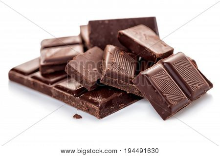 Broken Dark Chocolate Isolated On White Background