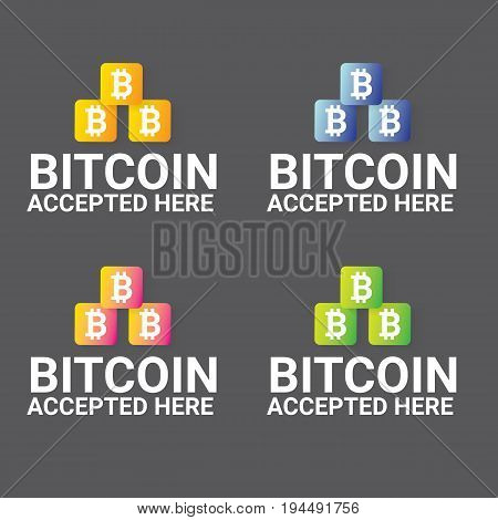 vector Bitcoin symbol. bitcoin accepted here icon or banner