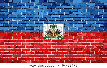 Flag of Haiti on a brick wall - Illustration