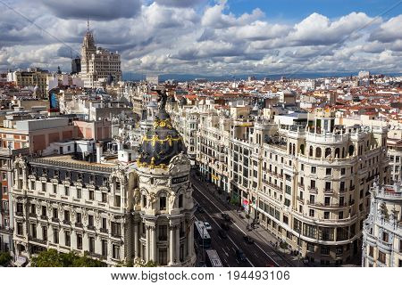 MADRID SPAIN - OCT 10 2014: Panoramic view on Gran Via the main shopping street in Madrid Spain.